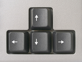 The four directional arrow keys on a keyboard